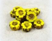 Czech Glass Flower Beads, 9mm Hibiscus Flower - Bright Lemon Yellow  (FL9/RJ-0762) - 9mm - Qty. 8