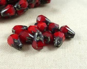 Red Teardrop Beads, Czech Beads, Czech Glass Beads, 8mm Dark Red Opaline Picasso Faceted Teardrop, Ruby Red Teardrop (DRO/RJ-1829) - Qty. 15