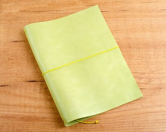 Handmade Leather Traveler's Notebook, Midori style in A5 size - Worn Lime Green