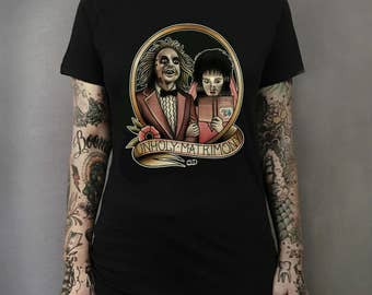Unholy Matrimony Lydia and Beetlejuice Tattoo Art T-shirt