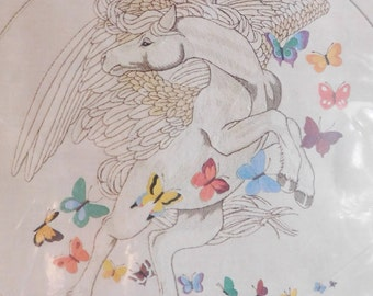 1981 Dimensions Pegasus & Butterflies crewel kit by Linda Powell new 20 x 20 inches