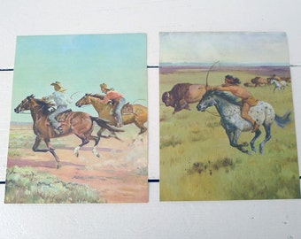 Set of Two Vintage Cowboy and Indian Prints