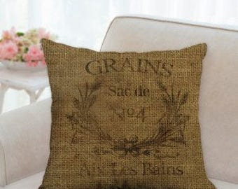 Rustic French Country Grain Sack Pillow (Not real grain sack)