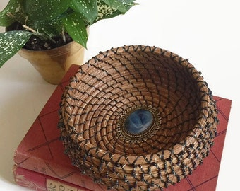 Coiled Pine needle Beaded Basket Center Cameo Style Gold Tone Blue Stone Candy Dish Trinket Vanity Storage Jewelry Dish Basket Bohemian Chic