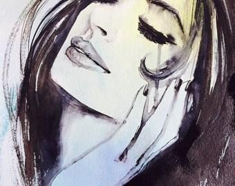 Art Fashion Illustration - Art Print from Watercolor Painting The Silence - Portrait - Modern Home decor - Wall Art - Fashion Art
