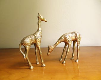 Vintage Brass Giraffes, Baby Giraffe Figurines, Two Young Giraffes, Brass African Animals, Pair