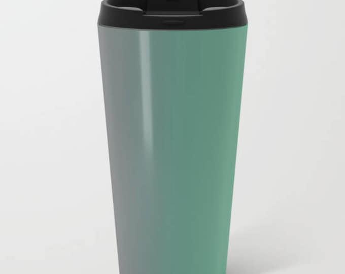 Travel Mug Metal - Green to Gray Ombre - Coffee Travel Mug -  Hot or Cold - 15oz Mug - Stainless Steel - Made to Order