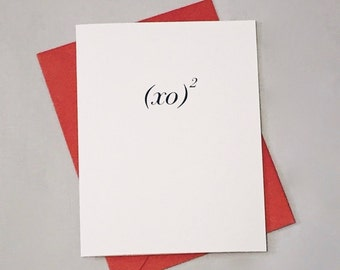 XOXO Math Card / XO Squared / Hugs and Kisses / I Love You Card / Valentine's Day / Positively Awesome Card / Love Equation