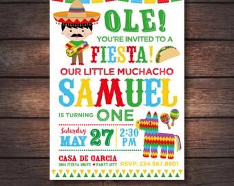 Fiesta Invitation, Cinco de Mayo Invitation, Fiesta First birthday Invitation, Mexican Birthday Invitation, Digital, 2 Options