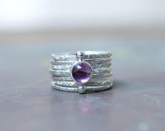 Purple Amethyst Ring Set - Galaxy Ring - Brazilian Amethyst Sterling Silver Ring - Celestial Rings - Boho Jewelry - Polar Galaxy Ring Set