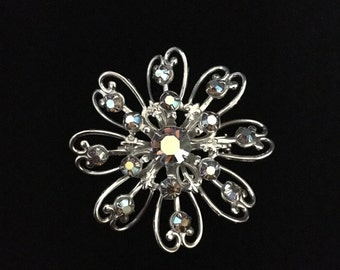 Vintage Aurora Borealis Sweetheart Floral Brooch (ABX1C)
