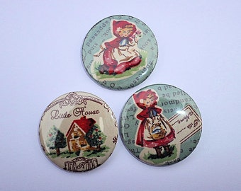 Red Riding hood Badge, Fabric Badge, Pin Badge, Brooch, 45mm Badge, Little Red Riding Hood, Fairy Story, Children's Story Book, Fairy Tale
