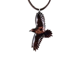 Raven Necklace, Raven Pendant, Wooden Raven Pendant, Raven Jewelry, Crow Pendant, Crow Necklace, Raven Totem, Spirit Animal Crow Jewelry