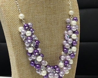Purple Necklace, Pearl Cluster Necklace, Bridesmaids Gifts, Purple and Ivory Necklace, Wedding, Jewelry, Lavender Necklace, Shades of Purple