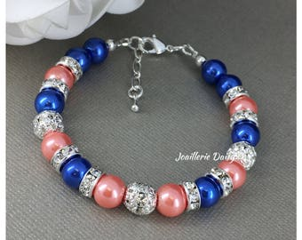 Royal Blue Jewelry Coral Bracelet Bridesmaid Jewelry Maid of Honor Gift for Her Royal Blue Cobalt Blue Coral Jewelry Summer Wedding