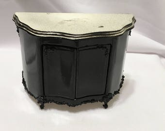 """Dollhouse Miniature 1"""" Black Lacquer with Marble Top Dresser (AP)"""