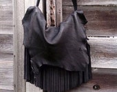 Black Hawk~~ Small Recycled Deerkin~ Freeform Fringe~ Leather Slouch~ Fringe~ Raw~ Edgy~ Beautiful Decay~ Made to Order