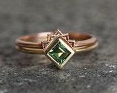 Green Sapphire Ring, Princess Sapphire Ring, Kite Ring, Princess Cut Ring, Yellow Sapphire Ring, Square Sapphire Ring, Simple Sapphire Ring