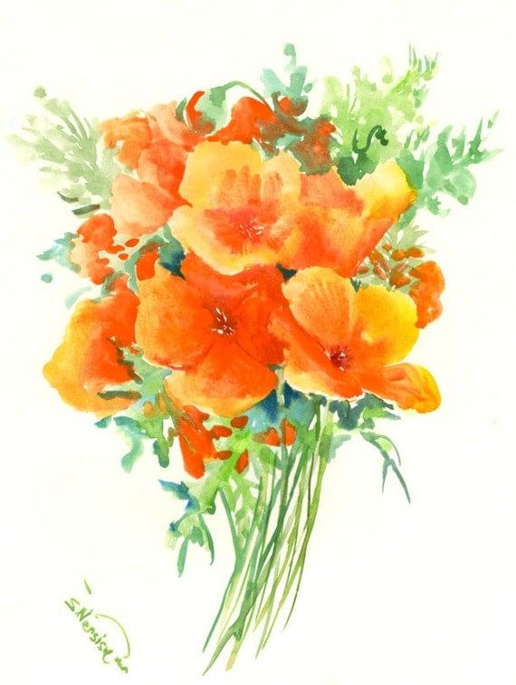 California Poppies Original watercolor painting 12 X 9 in