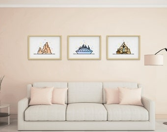 Theme Park Mountain Rides 3 Pack. Bedroom Decor Wall Art. Theme Park Holiday Rollercoaster. Minimalistic Vector Art.