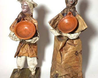 Papier-mâché Peasant Dolls, folk art dolls, papier mache art sculptures, primitive dolls