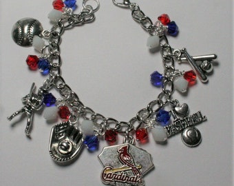 St Louis Cardinals Bracelet, Cardinals Charm Bracelet, St Louis Baseball Jewelry, Sports Jewelry, Cardinals Fan Jewelry, Gifts For Her