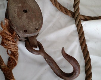 vintage arn pulley with hook and rope, barnyard,industrial,rustic decor