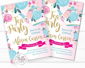 Tea Party Invitation, Tea Party Birthday Invitation, Tea Party Birthday Party, Tea Party Party, Tea,Princess Tea, Glitter Gold, Pink, Floral