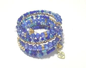 Memory Wire Bracelet, Blue Beaded Bracelet,Bracelet Wrap  Boho Style Beaded Bracelet,Seed Beads, Handmade Custom Jewelry, Women's Jewelry