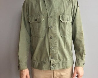 WW2 First Pattern Side buckles Herringbone Twill (HBT) Olive Green shirt jacket.