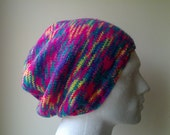 Slouch beanie hat in bright random pink yellow turquoise purple