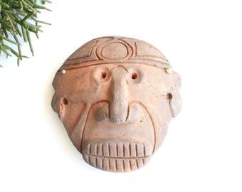 Vintage Tainos Indian terracotta mask by Guillen, Dominican Republic / boho bohemian chic folk tribal primitive taino taina