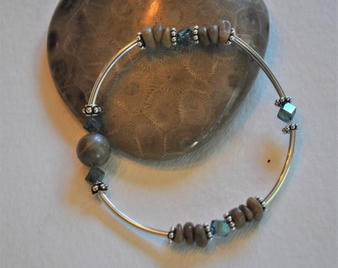Petoskey Stone stretch bracelet with blue crystals and sterling silver beads, Up North Michigan bracelet, fossil bracelet