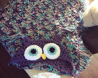 Owl Blanket, Hooded Owl Blanket, Crochet Owl Blanket, crochet owl, toddler to adult owl