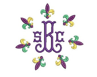 Fleur De Lis Circle Monogram Frame Mardi Gras Design Embroidery File for Embroidery Machine Monogram New Orleans Louisiana Mardi Gras