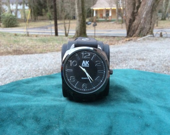 Large Black Leather Cuff Watch with Big Face