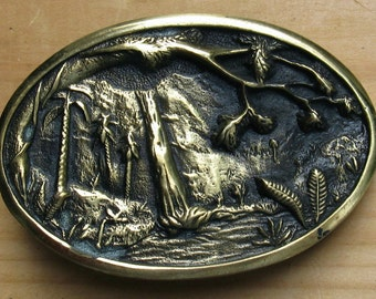 Waterfall and Nature Scene Solid Brass BTS Belt Buckle