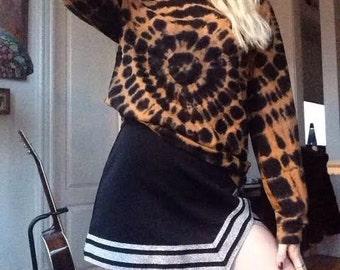 Vintage 90s Black Mini Silver Sparkle Trim Cheerleader Skirt Size M