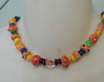 Multicolored collar necklace
