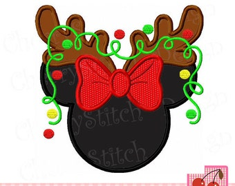 Christmas Reindeer Minnie Machine Embroidery Design CH0124 -4x4 5x5 6x6 inch