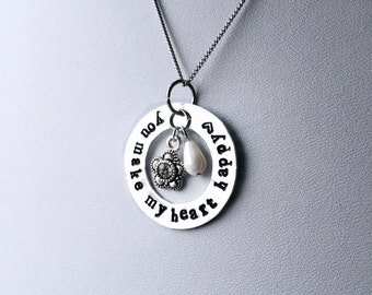 "Hand Stamped Necklace | You Make My Heart Happy | 1.25"" Custom Quote Pendant 
