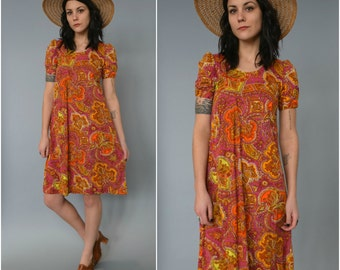 1960s paisley psychadelic babydoll dress