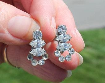 Round and Princess Cut Prong Set Rhinestone Screw Back Earrings