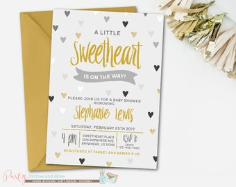 Sweetheart Invitation, Sweetheart Baby Shower Invitation, Valentines Day Baby Shower, Valentines Baby Shower Invitation, Gold and Silver