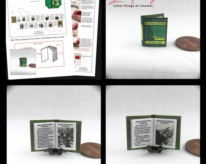 AROUND The WORLD In EIGHTY Days Book Kit Pdf Tutorial Dollhouse Miniature Book 1:12 Scale Book Novel Jules Verne 1873
