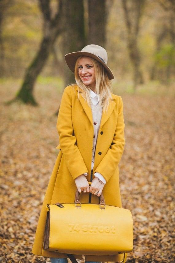 Yellow Duffel Bag, Yellow Travel Bag, Yellow Sports Bag, Yellow Leather Weekender Bag, Yellow Leather Busines