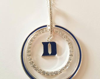 "DUKE University Blue Devils Double Round Pendant Necklace with a ""D"" Logo encircled by clear jewels"