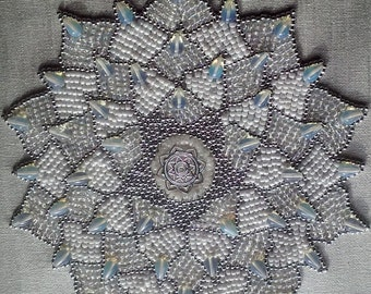 Beaded Crown Chakra on Painted Canvas
