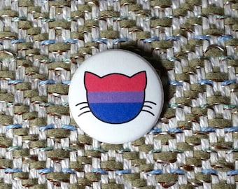 Bisexual Flag Cat Button or Magnet