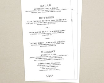Monogram Wedding Reception Dinner Menu
